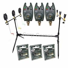 NGT Carp Coarse Fishing Session 3 Rod Pod with 3x Alarms Indicators + Batteries