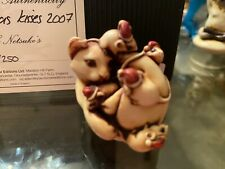 Adam Binder Pre Harmony Kingdom Christmas Kisses Cat W/ Mice Rare 218/250