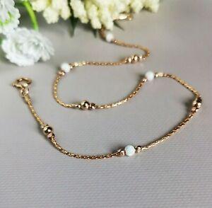 ANKLET white OPAL 14k Gold Chain 10''  Ankle Bracelet Birthstone October wedding