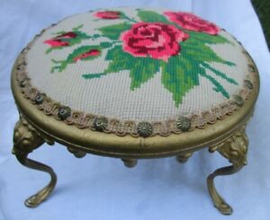 1895 Antique Victorian Rose Pattern Needlepoint Gold Cast Iron Foot Step Stool