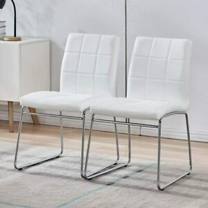 Modern Faux Leather Chairs with Chrome Legs, Set Of 2
