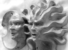 """Handmade 12"""" x 9"""" Original Sun & Moon Wall Sculpture by Claybraven"""