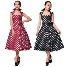 Polka Dot Pleated Rockabilly Retro 1950's Vintage Pin Up Dress UK 8 to 30 Plus