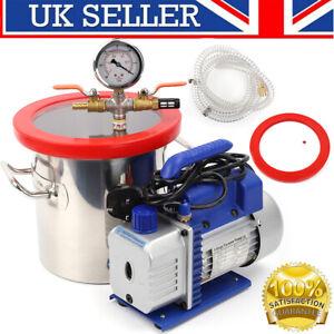 Vacuum Pump 2 Gallon 8L 3CFM 1/4HP Vacuum Pump Chamber Degassing Kit UK Plug