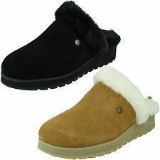 Ladies Bobs From Skechers Suede Slip On Casual Mule Slippers : Snow Magic