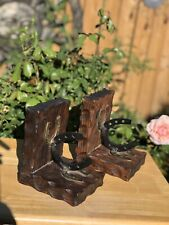 2 Rustic Western Book Ends with Horseshoes and Southwestern Decor