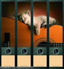 File Art 4x Ordner-Etiketten CAT & GUITAR Ordner RÜCKENSCHILDER Sticker 070