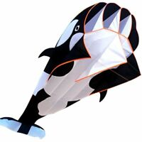 NEW Black 3D Cartoon Whale Framele Software Kite Single Line BechWith String