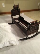 Vintage Ornate Victorian Era Rocking Doll Bed In Beautiful Condition W/Bedding