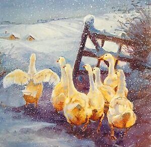 CHARITY CHRISTMAS CARD - SNOW GEESE - SINGLE CARD - 145MM