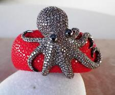 Unique Sterling Silver Oceanic Pave Octopus With Stingray Skin Bracelet