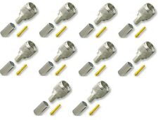 10 Crimps/Connectors Mini-UHF Male 3-piece for RG58/U RG400 Cable Motorola Radio
