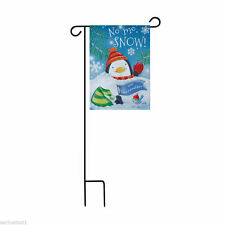 Winter Garden Flag and Stand Penguin NO MO SNOW! We Surrender! Flag Holder