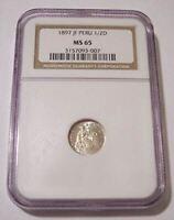 Peru 1897 JF Silver 1/2 Dinero MS65 NGC