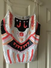 Asos Multi Coloured Sequined Camisole Top Size 14