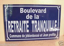 Plaque de rue cadeau depart retraite déco /  personnalisation possiblle + 4 €