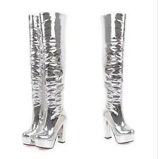 Silver Women High Block Heel Platform Over The Knee High Thigh Sexy Party Boots