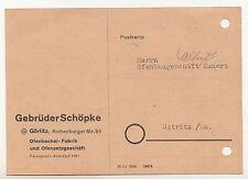 Postkarte Rechnung Gebrüder Schöpke Görlitz Ofenkachel Fabrik Ofensetzer 1949 !D