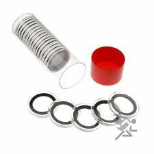 1 Cap-Tube & 20 Black Ring 24mm Air-Tite Coin Holder Capsules for Barber