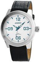 XXL Herrenuhr Silber Blau Analog Leder Armbanduhr Quarz Uhr D-60412119127695