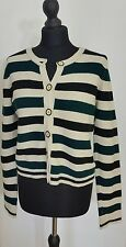 TOPSHOP Womens Jumper Size 10 38 6 Long Sleeve Striped Crew Neck Knit Button Up