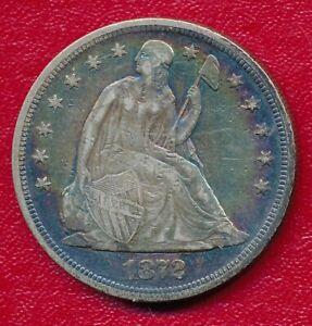 1872 SEATED LIBERTY SILVER DOLLAR **VERY NICE CIRCULATED VERY FINE** FREE SHIP!!