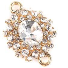 6pcs NEW Gold Rhinestone Oval Glass Diamond Zinc Alloy Connector Crafts Making L