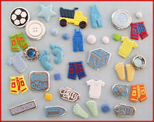 SHAPED BRADS - MIXED Baby Boy 15 pcs- BULK CRAFT - New - Scrapbooking Cards