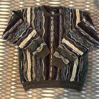 Vintage 90s 80s Coogi Style Sweater 3d Knit Sz L Biggie Hip Hop Cosby