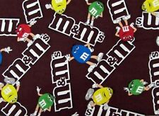 M and M Logo M&M Candy Logos Brown Cotton Fabric by the Yard