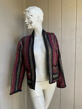 New listing Vtg 70's 80's open front India cotton lurex striped Quilted jacket S