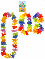 Hawaiian Flower Lei Set - 4 Piece - Hula Luau Tropical Garland Party