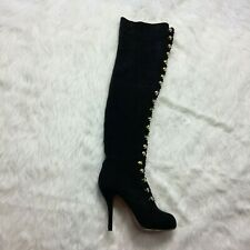 Christian Louboutin Boots Size 39 Stiletto Heel Suede Knee High Button