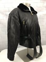 Vintage  ANDREW MARC Additions Women's Brown Zipper Leather Jacket Sz Medium M