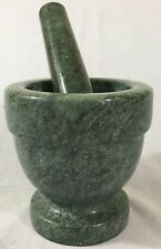 Vintage Mortar and Pestle Footed Green Marble Stone  Medicine Food Grinder