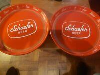 TWO VINTAGE SCHAEFFER BEER SERVING TRAY - 1950's