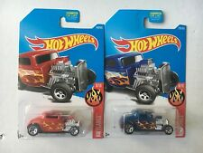 Hot Wheels Lot of 2 '32 Ford HW Flames Red and Blue