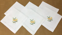 Six Large Dinner Napkins, Cotton, White, Flower & Leaf Embroidery, Yellow, Green