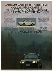 1981 SAAB 900 Turbo Vintage Original Print AD - White car photo French Canada