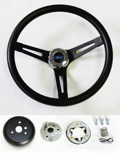 "Bronco F100 F150 F250 F350 Black on Black Steering Wheel 13 1/2"" Ford Cap"