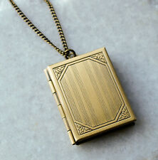 Large Book Locket Necklace Photo Pendant - Bronze Tone Long Chain Jewellery