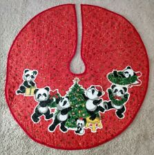Vintage Christmas Tree Skirt Red Quilted Panda Bears Small
