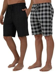 Fruit of the Loom Sleep Lounge Shorts Beyond Soft Knit 2 Pack Black Men's M-5XL