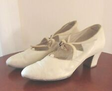 Vintage Edwardian White Leather Shoes Ladies by Murray Celpro approx size 6