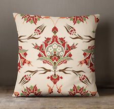 S4Sassy Cream Floral Print Decorative Square Cushion Cover Pillow Case Throw