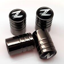 Neumático de coche Nissan Z Tapas De Válvula Polvo Pack de 4x De Metal Gris Rueda Válvula Tapas