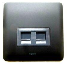 Twin RJ45 Cat5 Cat6 network outlet matt black metal wall faceplate socket