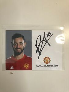 Bruno Fernandes Manchester United Signed Club Card Autograph 2020/21