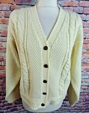 """Vintage BY DESIGN cardigan M L bust 44"""" 18 cream cable knit chunky metal buttons"""
