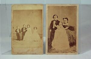 1860s P T BARNUM SIDESHOW MIDGETS CDV PHOTO - TOM THUMB AND HIS WIFE LOT OF 2